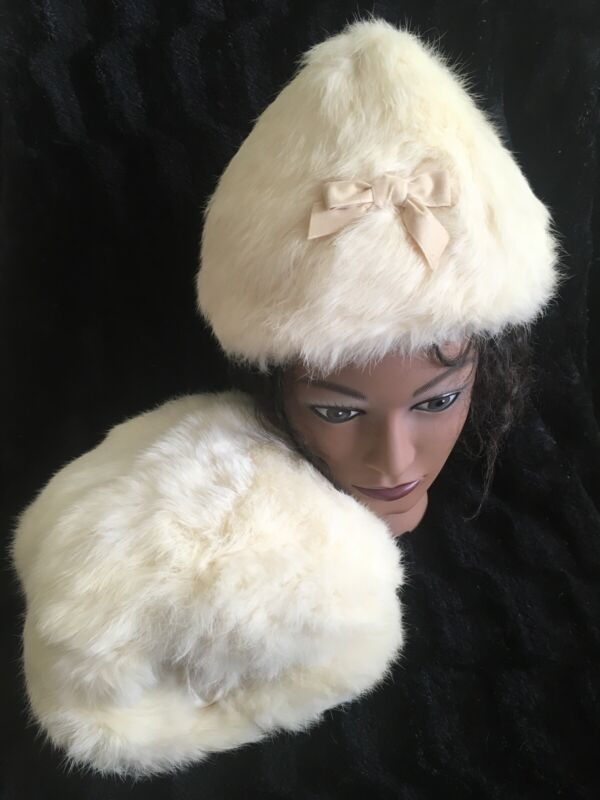 Vintage Youth Girl's White Rabbit Fur Muff with Wrist Strap & Cone Hat