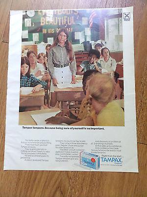 1971 Tampax Ad  School Girls  Classroom Theme