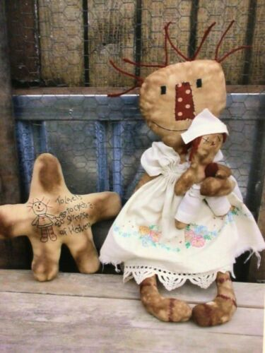 PATTERN Raggedy Ann & Baby Andy Doll & Stitchery Star Pillow Red Dirt Primitives