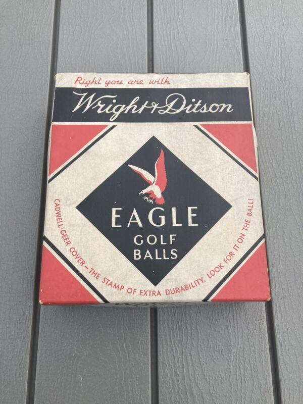 6 Vintage Wright & Ditson Eagle Golf Balls w/Display Box 1938
