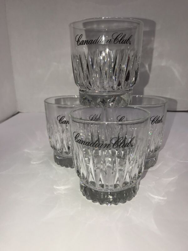 Canadian Club Double Old Fashioned Rocks Glasses Tumblers Libbey Set of 4