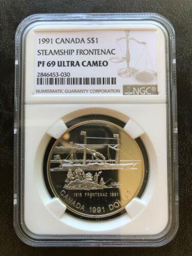 1991 S$1 CANADA SILVER PROOF STEAMSHIP FRONTENAC NGC PF 69 ULTRA CAMEO DOLLAR
