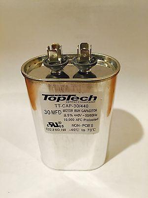 New TOPTECH Oval Motor Run Capacitor 30 MFD uf 370v 440 v AC Motor vac v volts