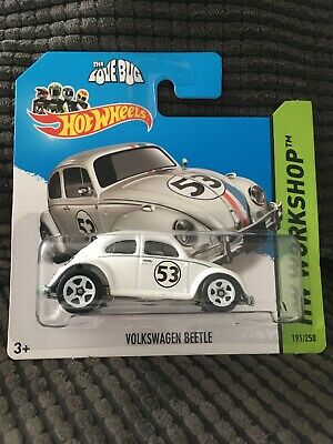 HOT WHEELS WHITE VOLKSWAGEN BEETLE HERBIE THE LOVE BUG HW WORKSHOP NEW BLISTER