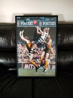 Framed AFL geelong Gary Ablett fosters beer poster