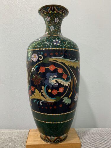 Antique Japanese Likely Meiji Period Large Cloisonne Vase w/ Floral Decoration
