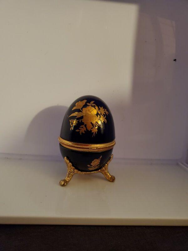 Dark Blue And Gold vintage porcelain Egg Musical Trinket Box