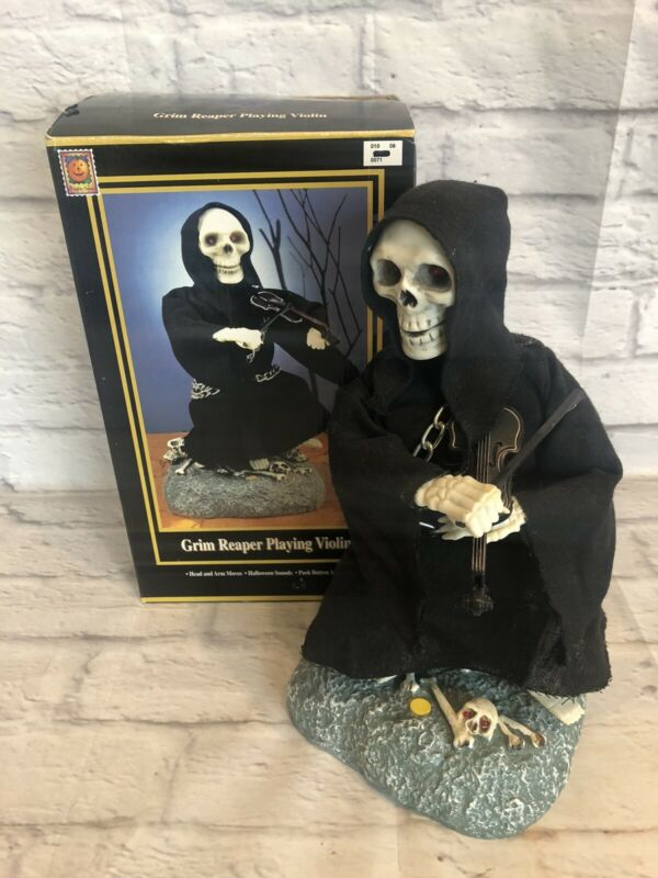 Vtg 1996 GEMMY GRIM REAPER Playing Violin Halloween Prop Decor Working in Box