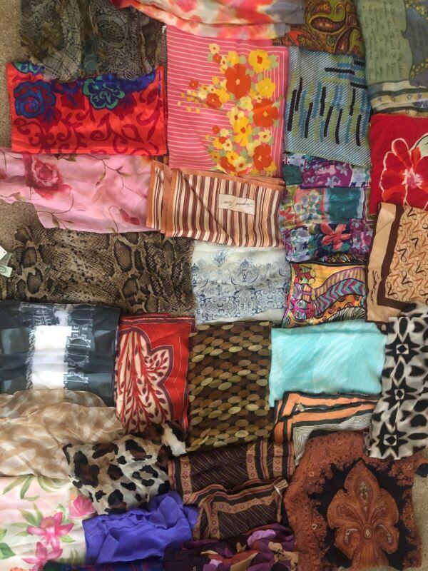 Scarf Lot of 29 Vintage & Designer Scarves See Description For Designers