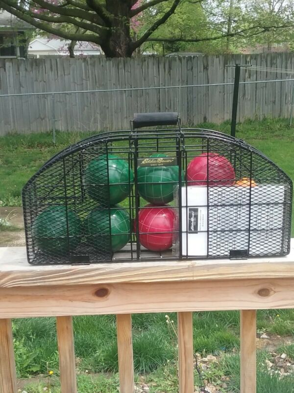 VINTAGE EDDIE BAUER COMPETION BOCCE BALL SET IN A STEEL CAGE & INSTRUCTIONS