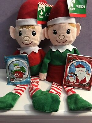 Girl And Boy Elf On The Shelf (Plush elf on The Shelf Boy And Girl With Wack A Balloon Gift Card Lot Of)