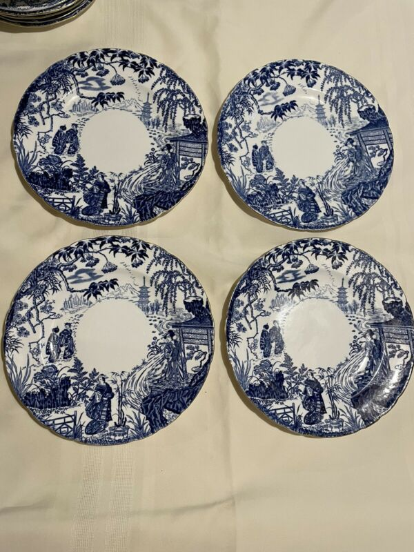 "4 Royal Crown Derby Mikado 10"" Dinner Plates"