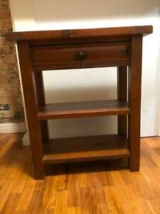 Brown wooden side console table