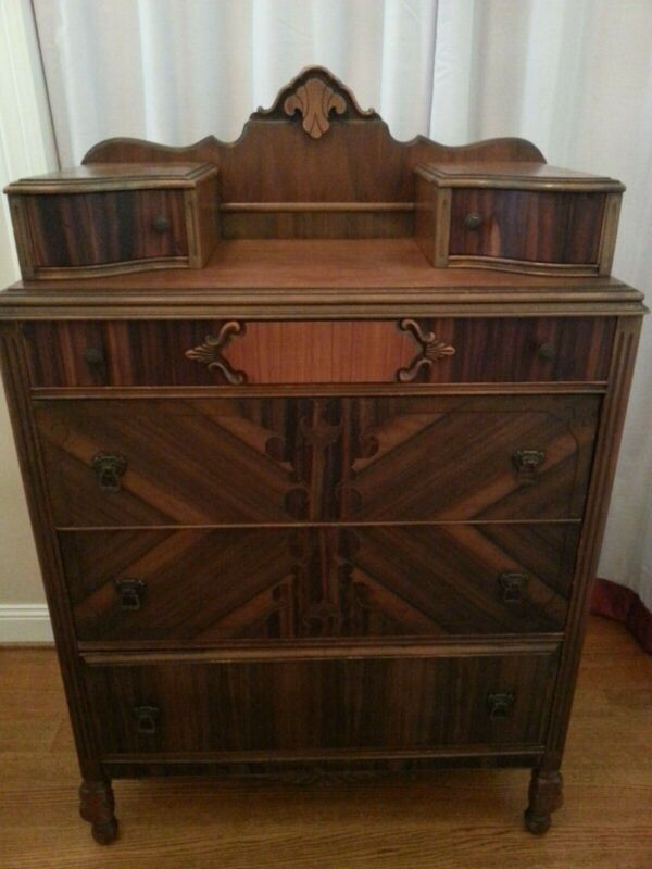 Circa 1930s Art Deco Walnut Dresser with Six Drawers and Original Brass Hardware