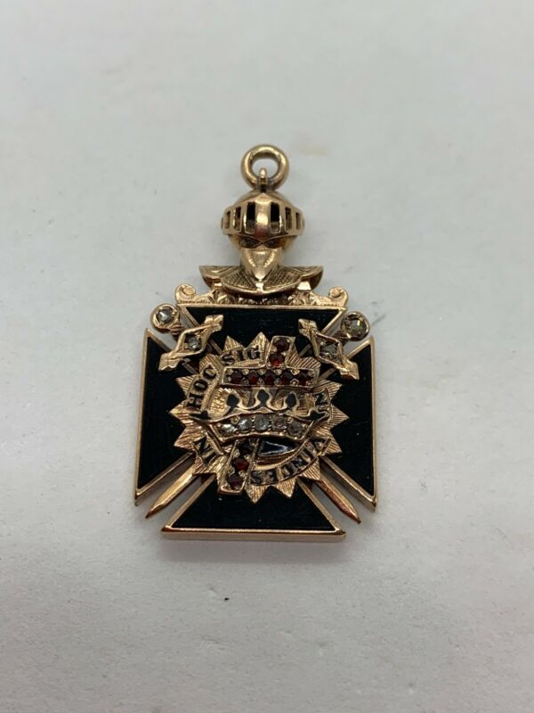Antique Masonic 14k Gold Knights Templar Diamond Ruby Onyx Enamel Pendant Medal