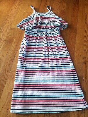 EUC Girls OLD NAVY Spring Summer Ruffle Midi Maxi Striped Dress size 8 M Medium