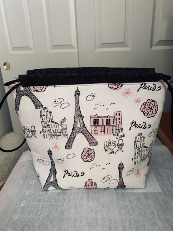 Paris Squishy Knitting Bag with Pockets, Crochet, Yarn Project, Crafts, Quilted