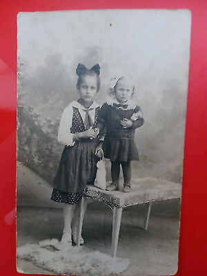 Old Real Photo Postcard Twoo Small Girls Sisters