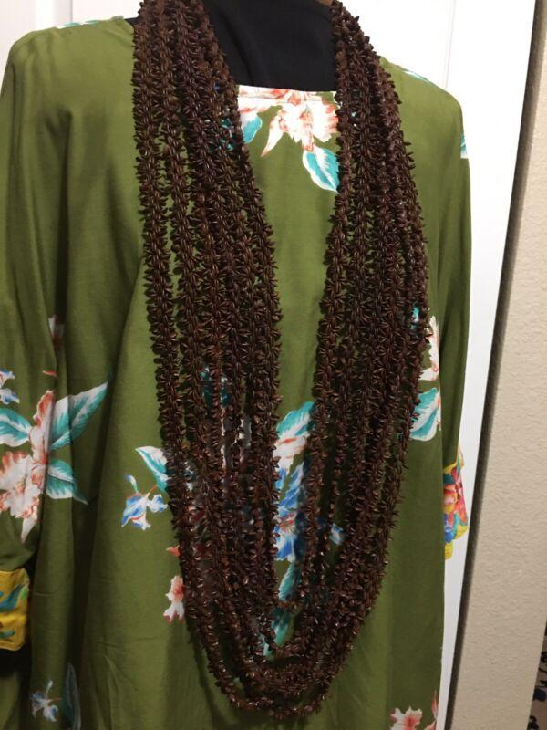 "6 Vintage Hawaii  KOA SEED Leis Hula Length 47""- 56"" Lei Necklace Tiki Bar Decor"