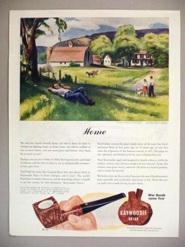 Kaywoodie Briar Pipe PRINT AD - 1944 ~~ Rudolf Wetterau art