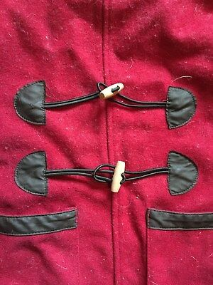 (Woolrich dog parka jacket coat red wool with wood buttons (size Small?) x mas)