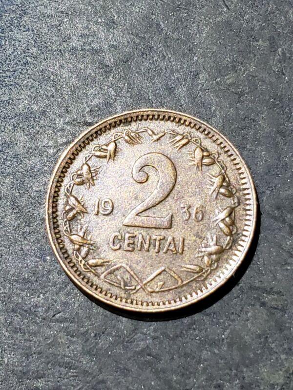 1936 LITHUANIA 2 Centai  Coin