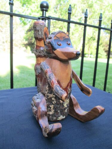 "Vintage Redwood Carved Saw Cut Wood Raccoon Statue Sculpture Amber Eyes 9"" Tall"