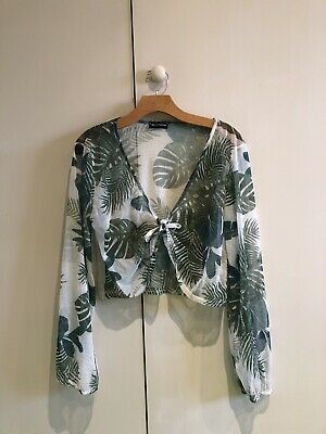 Pretty Little Thing PLT Tropical Crop Top Size 16 (Versace Design).