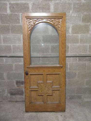 ~ BEAUTIFUL ANTIQUE CARVED VICTORIAN DOOR ~ 34 X 81 ~ ARCHITECTURAL SALVAGE ~