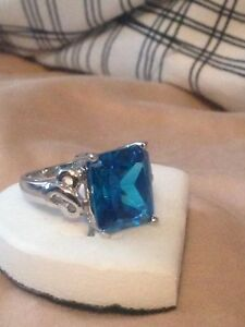 Blue Sapphire Solitaire 14K Solid White Gold Ring