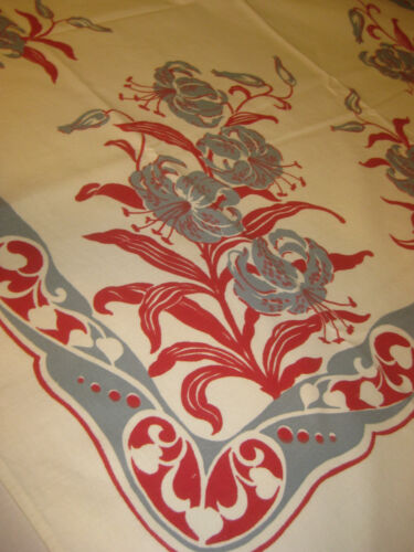 """Vintage Tablecloth Red and Grey Lily 47""""X51"""""""