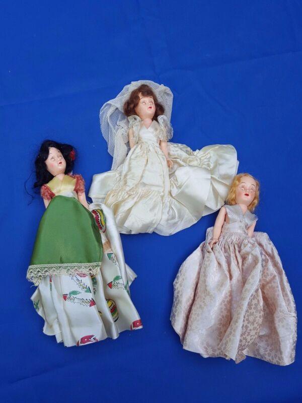 "3 Vintage Girl Dolls Sleepy Eyes Dolls 7"" tall Bride Mexico"