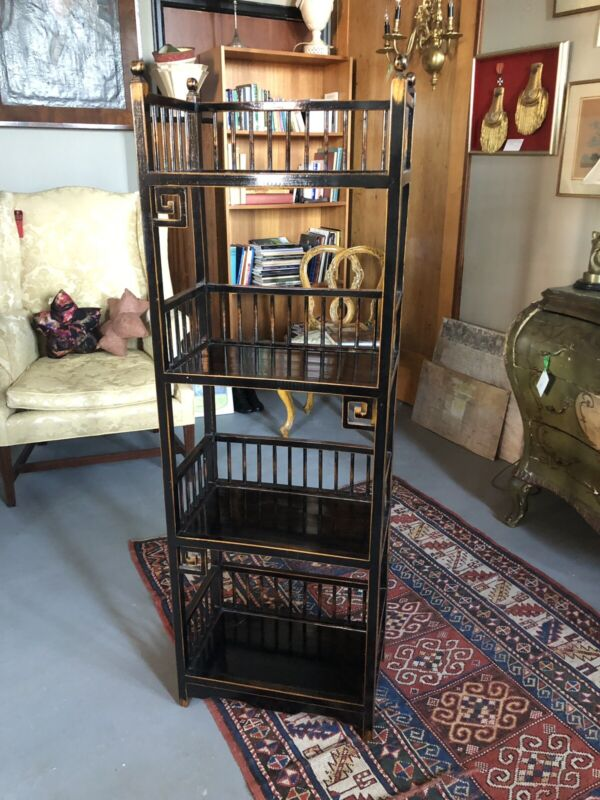 20th Century Asian Inspired Chippendale Style Etagere 4 Shelf Unit