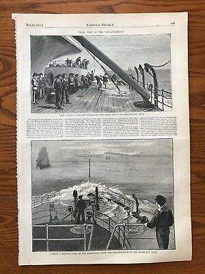"On Board The Ironclad ""Devastation""  Wood Engraving, 1873."