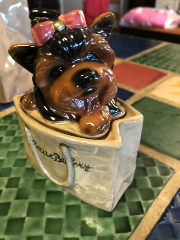 "BIG SKY CANINE YORKIE TERRIER ""LePETITE BAKERY"" COOKIE JAR & Salt Pepper Shakers"
