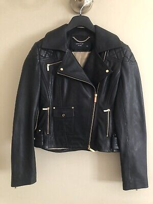 Karen Millen Black Leather Biker Jacket Size 10 - New Without Tags