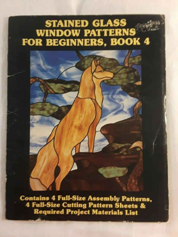 Stained Glass Window Patterns for Beginners- 4 Patterns- Fox Cat Poodle Panther