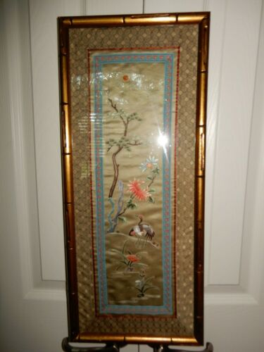 Vintage Asian Oriental Gold Faux Bamboo Framed Silk Embroidered Birds & Flowers