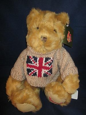 "HARRODS Bear 14"" Tan Brown Bear wearing Tan British Flag Sweater ~ NEW with Tags"