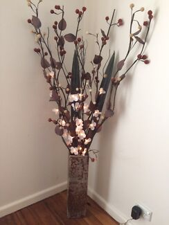 Gold Vase with decorative lights & flowers