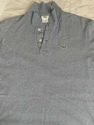 Lacoste Men's Cotton Blue V Neck Shirt T Shirt Size 6