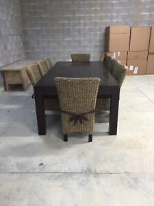 8 SEAT HARDWOOD TABLE AND CHAIRS