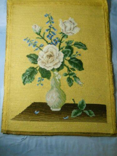 "Vintage Needlepoint Handmade White Flowers in Vase Still Life 20"" x 15"" Finished"