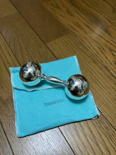 Tiffany & Co Baby Rattle BARBELL Sterling Silver 925 Dumbbell Without Box