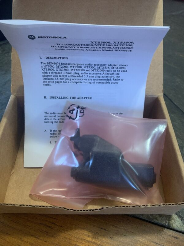 New Motorola BDN6676D 3.5mm Audio Accessory Adapter/Quick Disconnect, XTS3000