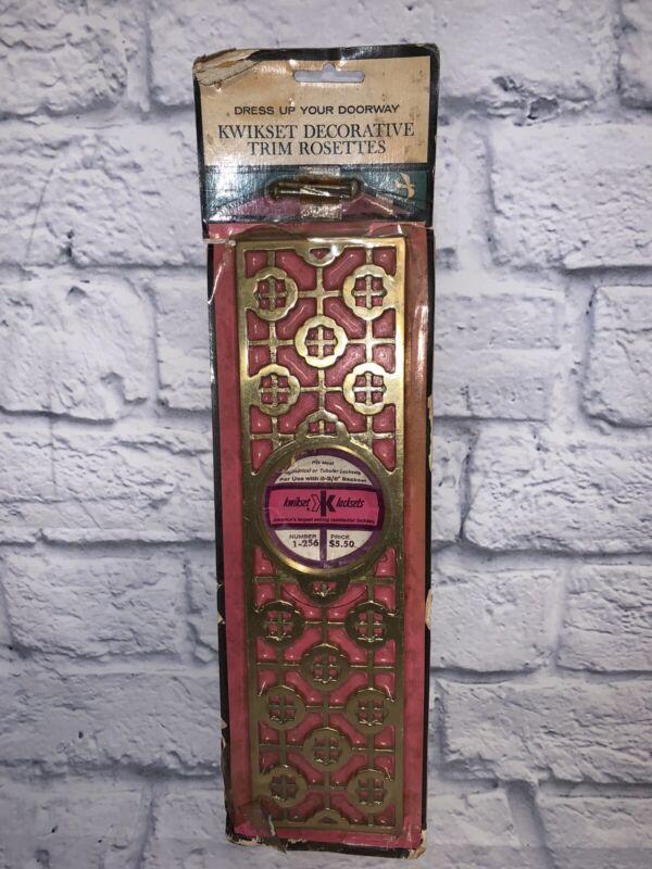 "MCM NOS KWIKSET DOOR ROSETTE BRASS TRIM PLATE 2-3/8"" 1960s VTG KNOB TRIM"