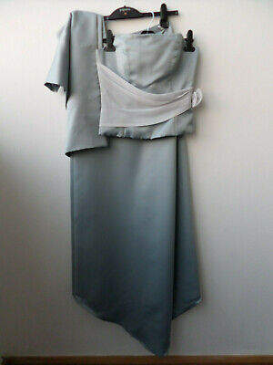 Handmade Sky Blue 2 Piece Bridesmaid Dress With Shawl Size 8