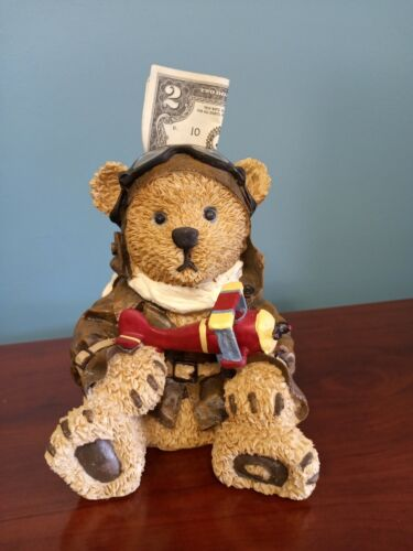 Pilot Bear with Airplane Coin Bank