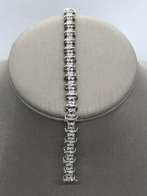 14k Solid White Gold Genuine Diamond Tennis Bracelet