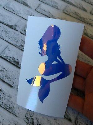 Mermaid Christmas Decal Holographic Blue Vinyl Car Tumbler Mug cup sticker 3.5 H